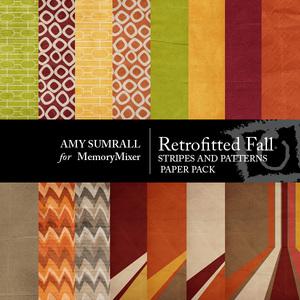 Retro fall pattern paper large medium