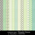 Simply Green Pattern Paper Pack-$3.49 (Lindsay Jane)
