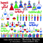 Birthday Brights Embellishment Pack-$2.99 (Tara Reed Designs)
