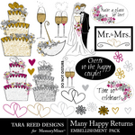 Many Happy Returns Embellishment Pack-$2.99 (Tara Reed Designs)