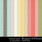 Bouquet of Flowers Pattern Paper Pack-$3.49 (Lindsay Jane)