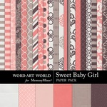 Sweet Baby Girl WAW Paper Pack-$3.99 (Word Art World)