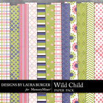 Wild Child LB Simple Patterned Paper Pack-$3.49 (Laura Burger)