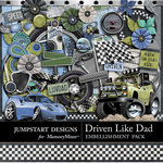 Driven Like Dad Embellishment Pack-$1.75 (Jumpstart Designs)