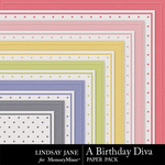 A Birthday Diva Embossed Paper Pack-$1.99 (Lindsay Jane)