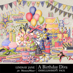 A Birthday Diva Embellishment Pack-$3.49 (Lindsay Jane)