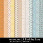 A Birthday Party Pattern Paper Pack-$1.99 (Lindsay Jane)