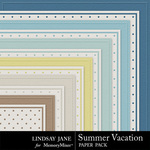 Summer Vacation Embossed Paper Pack-$1.00 (Lindsay Jane)