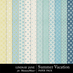 Summer Vacation Pattern Paper Pack-$1.00 (Lindsay Jane)