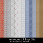 A Boys Life Pattern Paper Pack-$1.99 (Lindsay Jane)