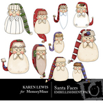 Santa Faces 1 Embellishment Pack-$1.75 (Karen Lewis)