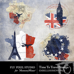 Time To Travel Stamps-$1.99 (Fly Pixel Studio)
