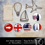 Time To Travel Extras Embellishment Pack-$2.99 (Fly Pixel Studio)