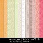 Rainbow of Life Pattern Paper Pack-$1.99 (Lindsay Jane)