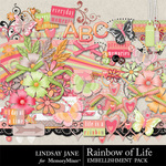 Rainbow of Life Embellishment Pack-$3.49 (Lindsay Jane)