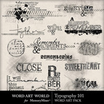 Typography 101 Embellishment Pack-$3.49 (Word Art World)