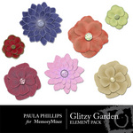 Glitzy Garden Flowers Embellishment Pack-$3.00 (Paula Phillips)