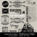 Halloween Night WordArt-$2.49 (Word Art World)