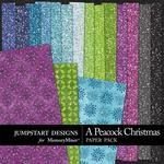 A Peacock Christmas Glitter Paper Pack-$3.49 (Jumpstart Designs)