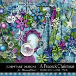 A Peacock Christmas Embellishment Pack-$3.49 (Jumpstart Designs)