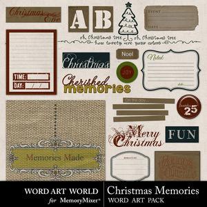 Christmas memories word art medium