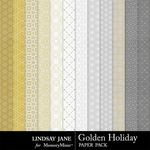 Golden Holiday Pattern Paper Pack-$0.99 (Lindsay Jane)