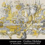 Golden Holiday Embellishment Pack-$3.49 (Lindsay Jane)