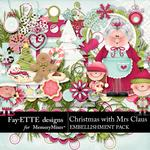 Christmas with Mrs Claus Embellishments-$3.49 (Fayette Designs)
