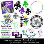 Mardi Gras Embellishment Pack-$2.99 (Tara Reed Designs)