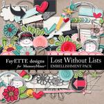 Lost Without Lists Embellishments-$1.75 (Fayette Designs)