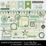 Love My Boy Embellishment Pack-$2.99 (Karen Lewis)