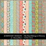 My Heart Belongs to Mommy Pattern Paper Pack-$1.75 (Jumpstart Designs)