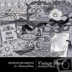 Vintage Blues Embellishment Pack-$3.49 (Designs by Krista)