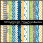 Orange Cream and Cabanas Pattern Paper Pack-$1.75 (Jumpstart Designs)