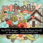 One Big Happy Family Embellishments-$1.75 (Fayette Designs)