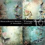 Vintage Memories Blue Butterfly Paper Pack-$2.00 (MagicalReality Designs)