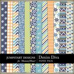 Denim Diva Patterned Paper Pack-$1.80 (Jumpstart Designs)