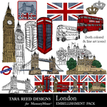 London Embellishment Pack-$2.10 (Tara Reed Designs)