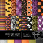 I Love Halloween Paper Pack-$2.45 (Designs by Krista)