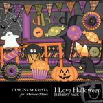 I Love Halloween Embellishment Pack-$2.45 (Designs by Krista)