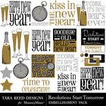 Resolutions Start Tomorrow Embellishment Pack-$2.99 (Tara Reed Designs)
