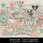 Love Cupcakes LJ Embellishment Pack-$2.45 (Lindsay Jane)