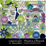 Proud As A Peacock Embellishment Pack-$3.49 (Carolyn Kite)