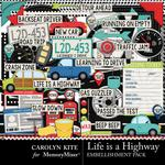Life Is A Highway Embellishment Pack-$3.49 (Carolyn Kite)