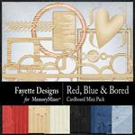 Red, Blue and Bored Cardboard Mini Pack-$2.45 (Fayette Designs)