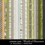World of Dinosaurs Paper Pack-$2.49 (Lindsay Jane)