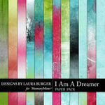 I Am A Dreamer Grunge Paper Pack-$3.99 (Laura Burger)