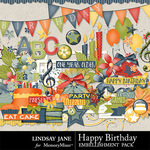 Happy Birthday LJ Embellishment Pack-$3.49 (Lindsay Jane)