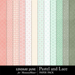 Pastel and Lace Pattern Paper Pack-$1.40 (Lindsay Jane)