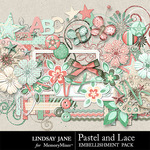 Pastel and Lace Embellishment Pack-$3.49 (Lindsay Jane)